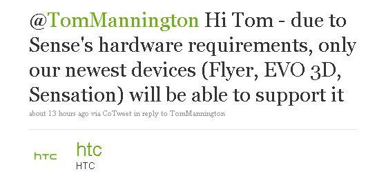 tweet htc, sense 3.0 disponibile solo per nuovi smartphone