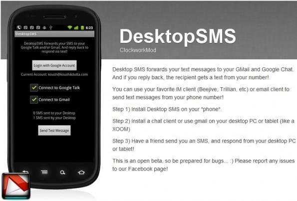 DesktopSMS (Beta): inviare, ricevere e gestire sms da Gmail su Android