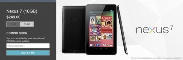 Anche il Nexus 7 16 GB non è più disponibile sul Play Store!